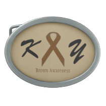Brown Standard Ribbon Oval Belt Buckle
