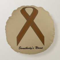 Brown Standard Ribbon Round Pillow