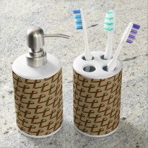 Brown Standard Ribbon Soap Dispenser And Toothbrush Holder