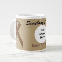 Brown Standard Ribbon Template by Kenneth Yoncich Large Coffee Mug