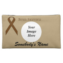 Brown Standard Ribbon Template Cosmetic Bag