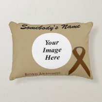 Brown Standard Ribbon Template Decorative Pillow