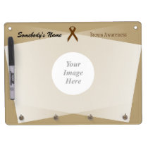 Brown Standard Ribbon Template Dry Erase Board With Keychain Holder