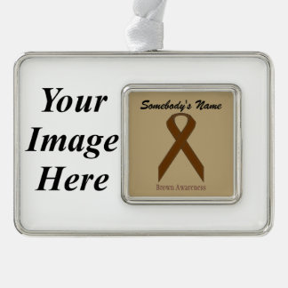 Brown Standard Ribbon Template (H-I) Silver Plated Framed Ornament