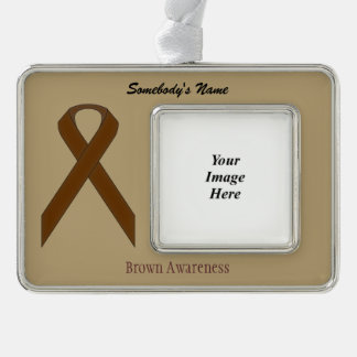 Brown Standard Ribbon Template (H-O) Silver Plated Framed Ornament