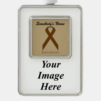 Brown Standard Ribbon Template (V-I) Silver Plated Framed Ornament