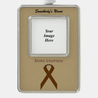 Brown Standard Ribbon Template (V-O) Silver Plated Framed Ornament