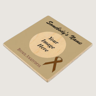 Brown Standard Ribbon Tmpl by Kenneth Yoncich Wooden Coaster