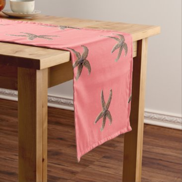 Beach Themed Brown Starfish Coral Pink Table Runner