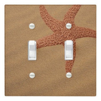 Brown Starfish on Beach Sand Light Switch Cover