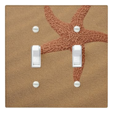 Beach Themed Brown Starfish on Beach Sand Light Switch Cover