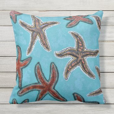 Beach Themed Brown Starfish with Blue Background Throw Pillow
