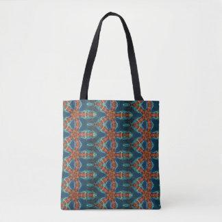brown stars blue geometric tote bag