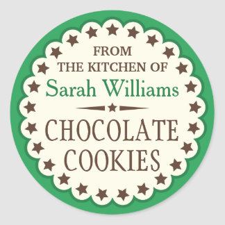 Brown stars from the kitchen of cookie swap favor classic round sticker