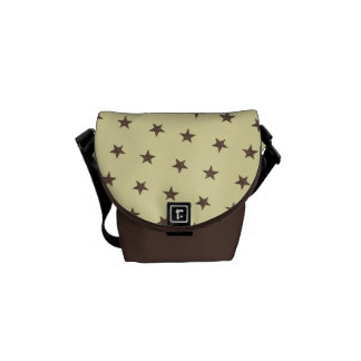 Brown Stars Pattern Courier Bag