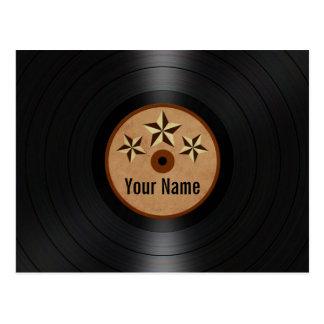 Brown Stars Personalized Vinyl Record Album Postcard