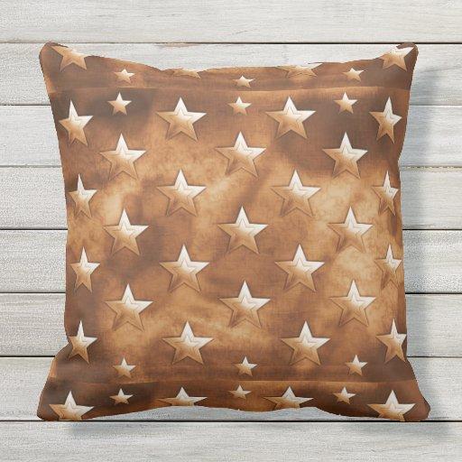 Brown Stars Throw Pillow 20