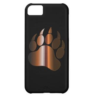 BROWN STEEL BEAR PAW ON BLACK iPhone 5C CASE