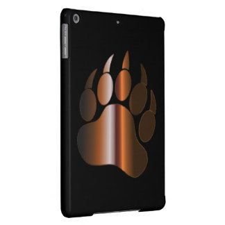 BROWN STEEL BEAR PAW ON BLACK iPad AIR COVERS