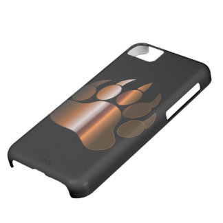 BROWN STEEL BEAR PAW ON BLACK - IPHONE 5 CASE