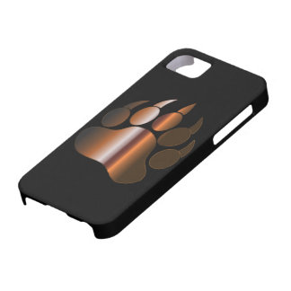 BROWN STEEL BEAR PAW ON BLACK - IPHONE 5 CASE