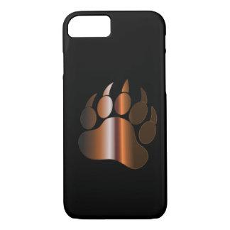 BROWN STEEL BEAR PAW ON BLACK - iPhone 7 case