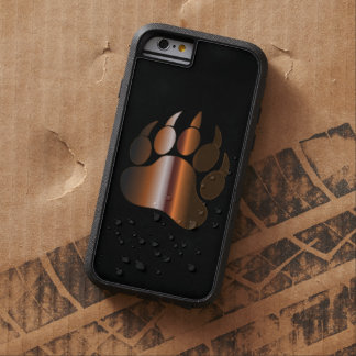 BROWN STEEL BEAR PAW ON BLACK TOUGH XTREME iPhone 6 CASE