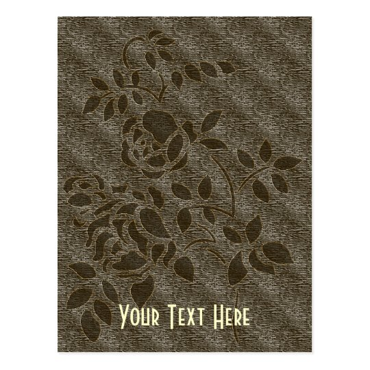 Brown Stencil Rosebud Floral Customizable Postcard