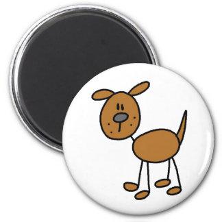 Brown Stick Figure Dog Magnet Refrigerator Magnet
