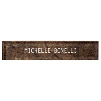 Brown Stone Design Background Plain Legible Modern Name Plate
