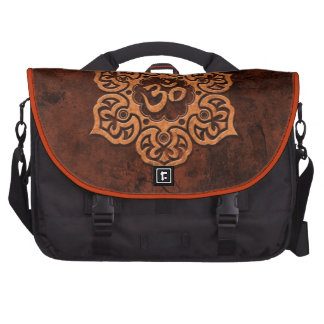 Brown Stone Floral Om Laptop Computer Bag