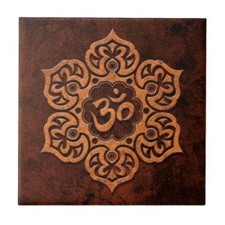 Brown Stone Floral Om Tile
