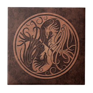 Brown Stone Yin Yang Phoenix Small Square Tile