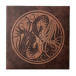 Brown Stone Yin Yang Phoenix Tiles