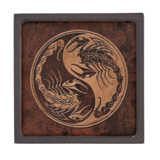 Brown Stone Yin Yang Scorpions Jewelry Box
