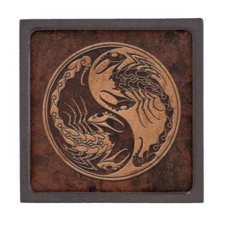 Brown Stone Yin Yang Scorpions Premium Keepsake Box