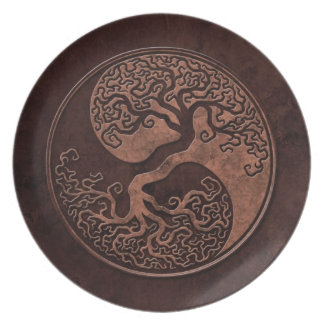 Brown Stone Yin Yang Trees Dinner Plate