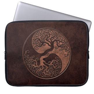 Brown Stone Yin Yang Trees Laptop Sleeve