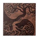 Brown Stone Yin Yang Trees Tile