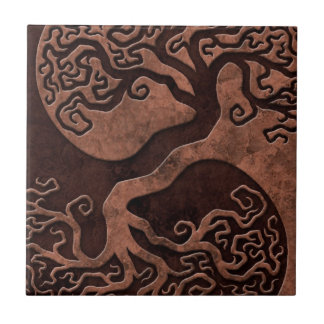 Brown Stone Yin Yang Trees Small Square Tile