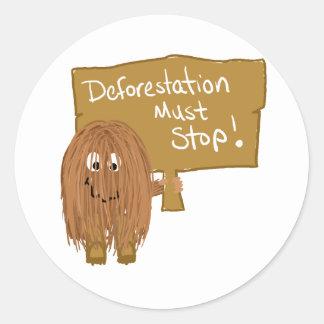 Brown stop deforestation classic round sticker