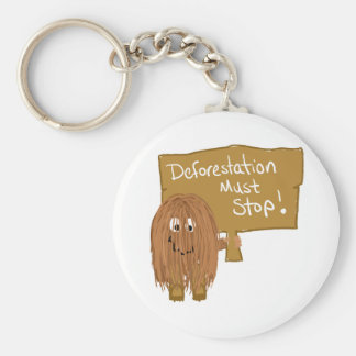 Brown stop deforestation key chain