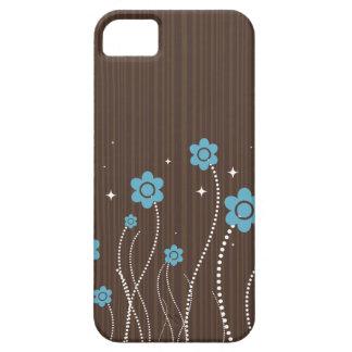 Brown Stripe, Blue Flowers iPhone5 Case