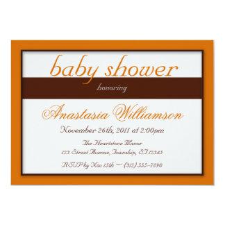 Brown Stripe Orange Baby Shower Invitations