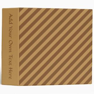 Brown Stripe Pattern. 3 Ring Binder
