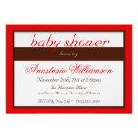 Brown Stripe Red Baby Shower Invitations