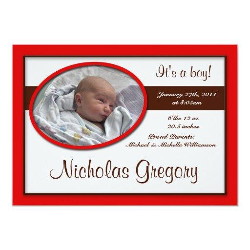 Brown Stripe Red Birth Announcements