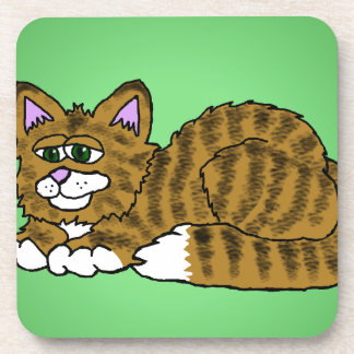 Brown Striped Cartoon Kitty with Green Background Coaster