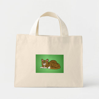 Brown Striped Cartoon Kitty with Green Background Mini Tote Bag