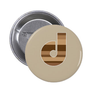 Brown Striped Monogram - Letter D Buttons